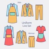 Stroje dla Biznesowych kobiet Fachowych mężczyzna i Formalna odzież dla kobiet i mężczyzna Mundur: fartuch, kurtka, dyszy Zdjęcia Royalty Free
