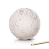 Stroke America map on paper globe Royalty Free Stock Images