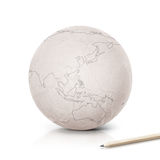 Stroke Asia & Australia map on paper globe. On white background stock images