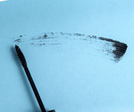 Stroke of black mascara with applicator brush Royalty Free Stock Image