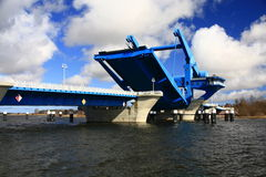 Stroke bridge. The stroke bridge across the Peene river to get out in the Baltic Sea, Germany Stock Images