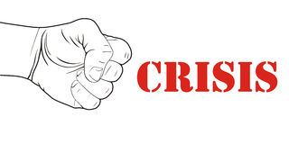 Stroke by crisis illustration. Fist striking by word crisis on white background Royalty Free Stock Photography