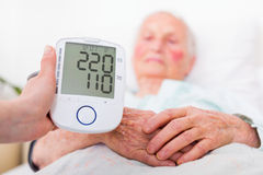Stroke danger - high blood pressure. Extremely high blood pressure registered by nursing home geriatrician doctor - stroke danger royalty free stock photos