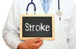 Stroke - Doctor holding chalkboard with text. On white background stock photos