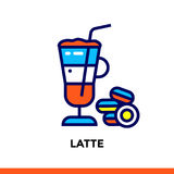 Stroke line icon LATTE of bakery, cooking. Vector modern flat pictogram for mobile application and web design Stock Photography