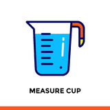 Stroke line icon MEASURE CUP of bakery, cooking. Vector modern flat pictogram for mobile application and web design Stock Photos