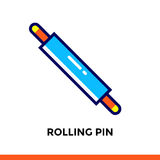 Stroke line icon ROLLING PIN of bakery, cooking. Vector modern flat pictogram for mobile application and web design Royalty Free Stock Photography