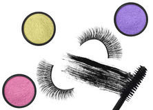 Stroke (sample) of black mascara, eyeshadows and false eyelash Stock Photo