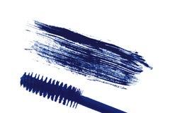 Stroke (sample) of blue mascara, isolated on white Stock Photos