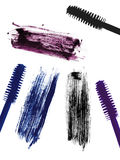 Stroke (sample) of blue, violet and black mascara, isolated Stock Photography
