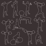 Stroke silhouttes of athletes Royalty Free Stock Photography