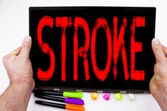 Stroke text written on tablet, computer in the office with marker, pen, stationery. Business concept for Medicine health stethosco Royalty Free Stock Photography