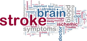 Stroke wordcloud. Word cloud tags concept illustration of stroke Stock Photos