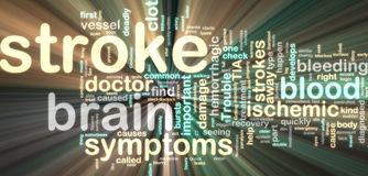 Stroke wordcloud glowing. Word cloud tags concept illustration of stroke glowing neon light style Stock Photography