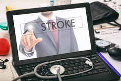 Stroke written on a computer`s screen Stock Images