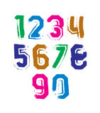 Stroked bright numbers set, real ink brush vector Stock Photography