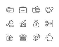 Stroked Financial icons set. Simple set of stroked financial related  icons for your design Royalty Free Stock Photography