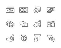 Stroked Money icons set. Royalty Free Stock Photo