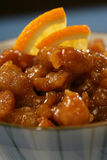 Stroken van kippenborst met suiker en sinaasappel   Stock Foto's