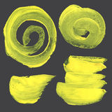 Strokes and circles drawn thick yellow paint Royalty Free Stock Photography