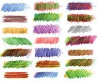 Strokes of colored pencils Stock Photos