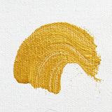 Strokes of gold acrylic paint isolated on white Royalty Free Stock Image
