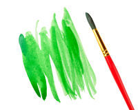 Strokes of green paint and brush Royalty Free Stock Photos