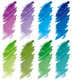 Strokes set blue, green, violet. Royalty Free Stock Images