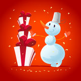 Strokes Vector christmas illustration with snowman funny character Stock Photos