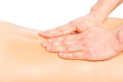Stroking massage, the masseur hands. Close up Royalty Free Stock Photography