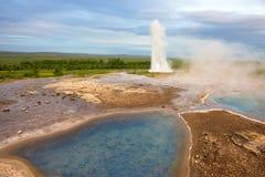 Strokkur喷泉, Geysir,冰岛 库存图片
