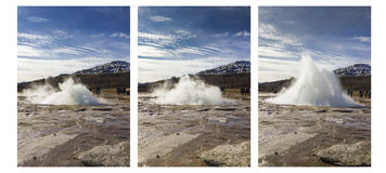 Strokkur eruption in comparison Royalty Free Stock Images