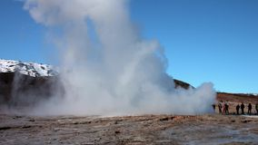 Strokkur Geyser erupting. At the Haukadalur geothermal area BMPC stock footage