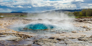 Strokkur Geyser before eruption. On the golden circle in southern Iceland royalty free stock photos