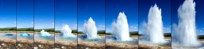 Strokkur Geyser eruption in sequence Stock Image