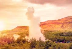 Strokkur geyser at Geyser at Iceland at sunset Stock Photography