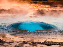 Strokkur geyser just at the explosion moment, Iceland Royalty Free Stock Photography