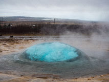 Strokkur Geysir Bubble. Bubble before the Strokkur Geysir blows in Iceland Royalty Free Stock Photos
