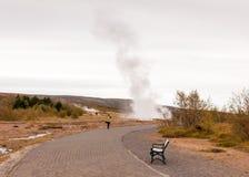 Strokkur Geysir eruption in autumn, Iceland Royalty Free Stock Photography