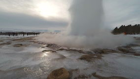 Strokkur Iceland Geyser action slow motion 60 fps stock video
