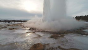 Strokkur Iceland Geyser extreme slow motion 120fps stock footage