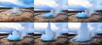 Strokkur sequence Royalty Free Stock Images