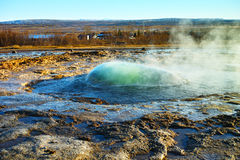 Strokkur about to erupt geyser at Geysir, Iceland Stock Photo