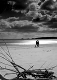 The Stroll. Black and white (high constrast) shot of couple silhouetted on swansea bay. driftwood in foreground Royalty Free Stock Photography