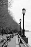 New York City Boardwalk. Black and white photo looking down the park way in New York city stock photo