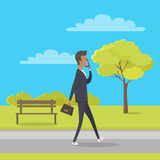 Stroll in City Park Flat Vector Illustration Stock Images