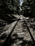 A stroll down the tracks. Forgotten paths revealed stock image