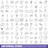 100 stroll icons set, outline style. 100 stroll icons set in outline style for any design vector illustration royalty free illustration