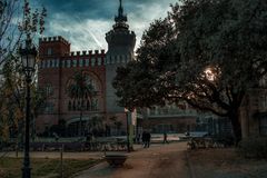 A Stroll in the Past. The Parc de la Ciutadella in Barcelona, Spain. Shot with a moody light and tone in a bright winter afternoon royalty free stock photography