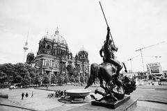 Black and white art monochrome photography. A beautiful European city. Euro-trip. A stroll through the streets of Berlin. Travel to Germany. Beautiful view of royalty free stock photo